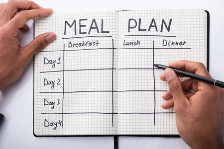 High Angle View Of A Persons Hand Filling Meal Plan In Notebook Standard-Bild
