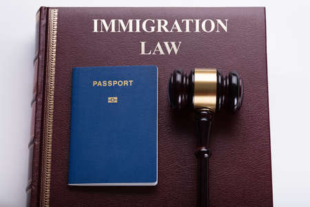 Close-up Of Gavel And Passport In Front Of Law Book