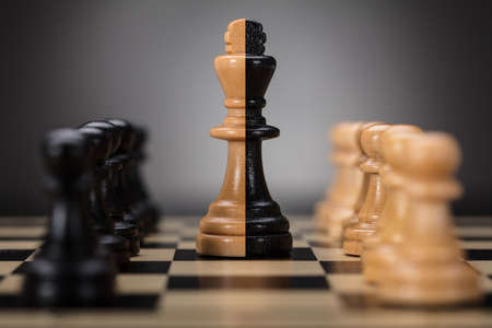 Black And Brown Colored King And Pawns On Chess Board