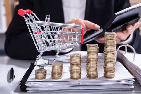 Stack Of Increasing Coins And Shopping Cart In Front Of The Businesswoman Calculating Invoice
