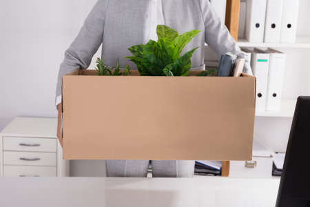 Mid Section View Of A Businessperson Carrying Cardboard Box With Belongings In Office