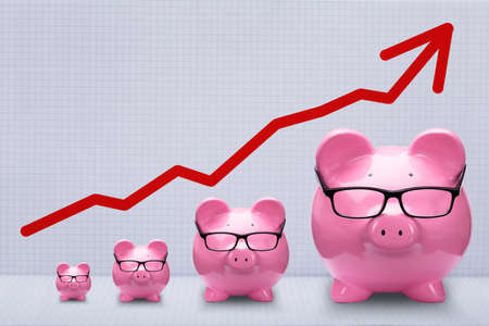 Red Arrow Over Increasing Size Of Piggy Banks On Square Pattern Background