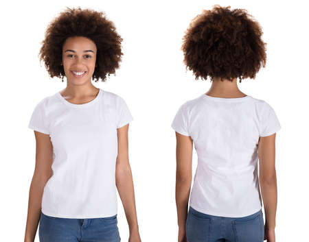 Portrait Of A Happy Young Woman Standing On White Background Imagens