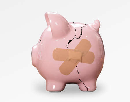 Broken Pink Piggybank With Bandage On White Background