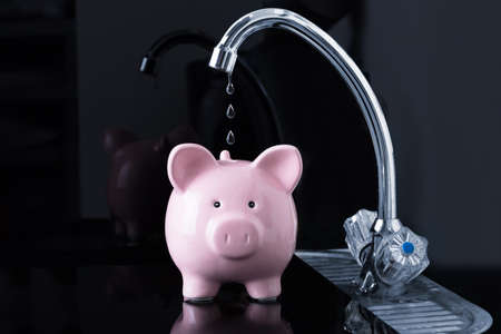 Dripping Water Droplets Are Falling In The Pink Piggybank From Kitchen Sink Faucet