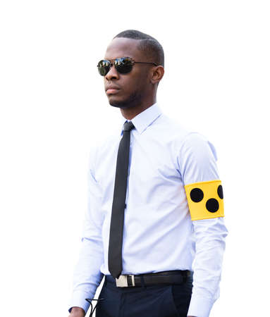 Portrait Of An African Young Blind Man Wearing Armband Stock Photo
