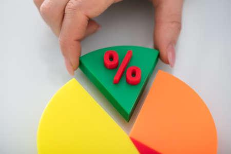 Nahaufnahme des Fingers einer Person, der grünes Stück Kreisdiagramm mit rotem Prozentsatz-Symbol nimmt