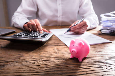 Businessperson Calculating Bill With Small Piggybank On Wooden Desk Фото со стока