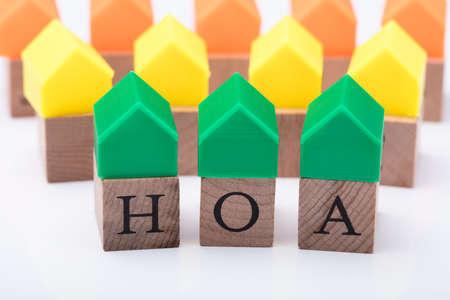 Green House Model Over Homeowner Association Wooden Blocks Фото со стока