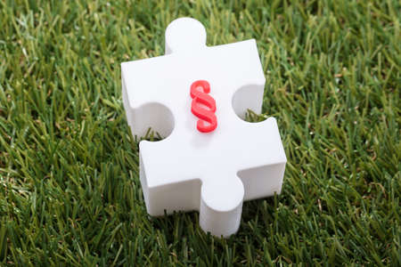 Elevated View Of Red Paragraph Symbol On White Jigsaw Puzzle Over Turf