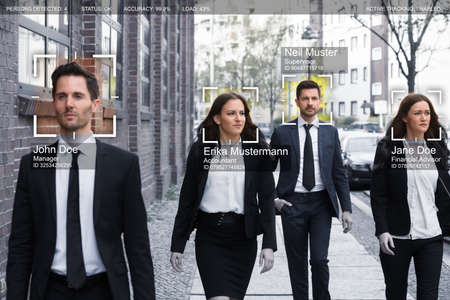 Portrait Of Young Businesspeople Face Recognized With Intellectual Learning System Stockfoto - 103754336