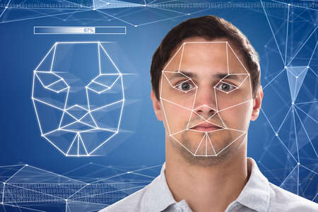 Close-up of a man's face detection and recognition