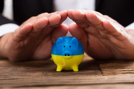 Businesspersons hand protecting piggybank with Ukrainian flag paint