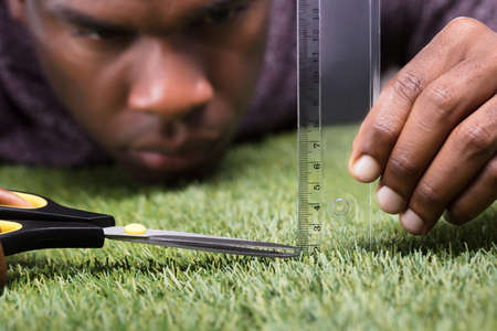 Close-up Of A Man Cutting Green Grass Measured With Ruler Foto de archivo