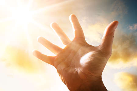 Close-up Of A Person Raising His Hand Up To The Sky In Sunlight