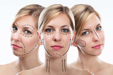 Multiple Exposure Of Pretty Young Woman's Face With Correction Lines Archivio Fotografico - 108865247