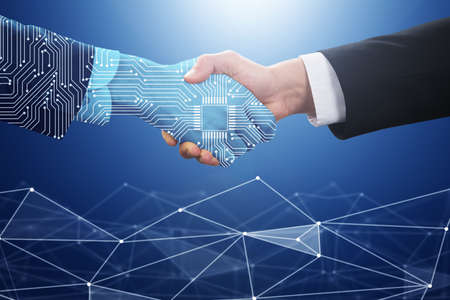 Businessperson Shaking Hand With Digital Partner Over Futuristic Background Фото со стока