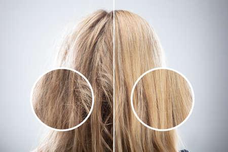 Frauenhaar vor und nach dem Haarglätten auf grauem Hintergrund