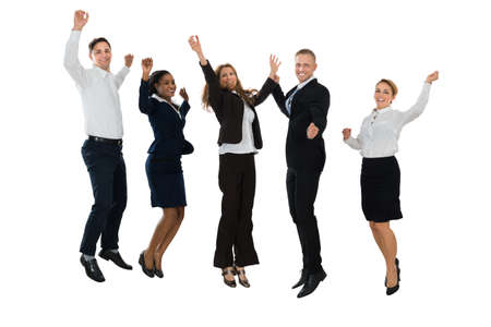 Group Of Excited Businesspeople Jumping On White Background