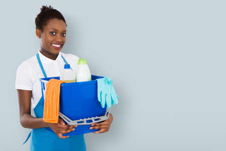 Portrait Of A Smiling African Female Janitor Holding Cleaning Equipment Фото со стока