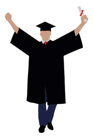 Illustration Of A Graduate Student With Diploma Raising His Arms