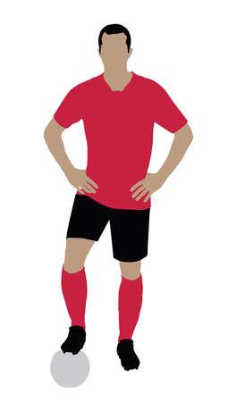 Portrait d'un joueur de football debout sur fond blanc