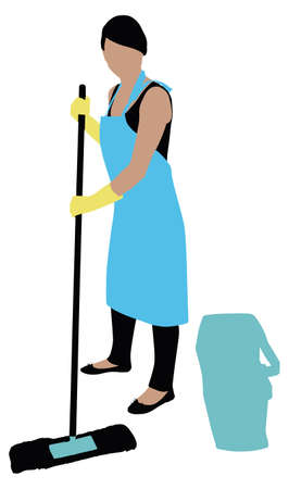 Illustration Of A Female Cleaner Cleaning Floor With Mop