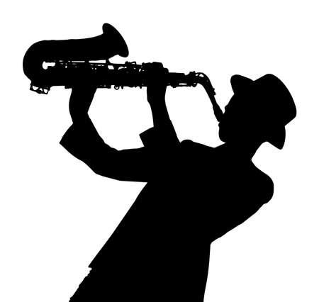 Sagoma di una persona che suona il sassofono su sfondo bianco
