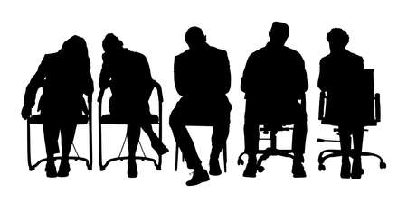 Group Of Businesspeople Sitting On Chair Over White Background Illustration