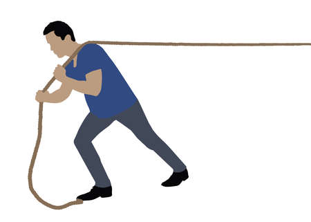 Side View Of A Man Pulling Rope On White Background