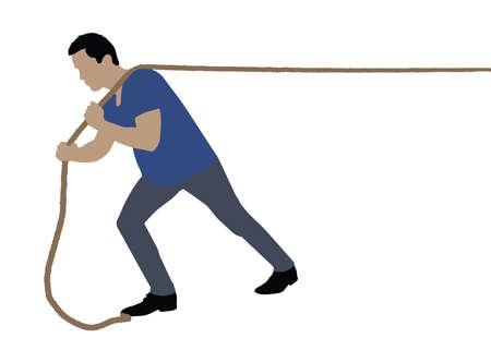 Vista lateral de un hombre tirando de la cuerda sobre fondo blanco.