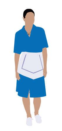 Illustration d'une femme nettoyeur d'hôtel debout sur fond blanc