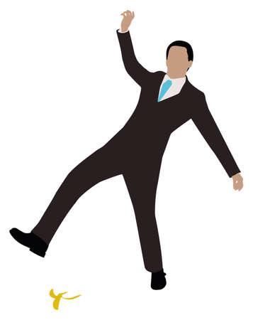 Illustration Of A Businessman Slipping On Banana Peel Over White Background