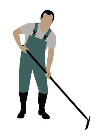 Illustration Of A Gardener With Gardening Tool On White Background Stock Illustratie