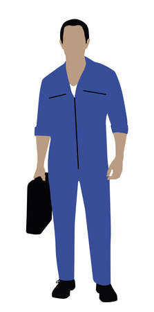 Portrait Of A Technician With Toolbox Standing On White Background  イラスト・ベクター素材