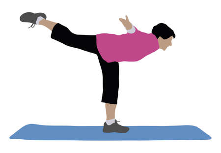 Side View Of A Woman Exercising On Exercise Mat Over White Background