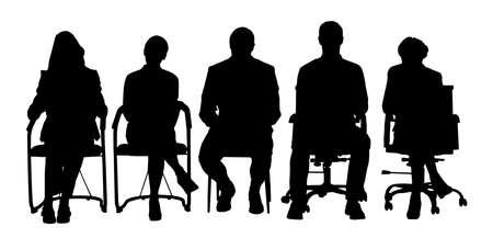 Gruppe von Geschäftsleuten, die auf einem Stuhl auf weißem Hintergrund sitzen