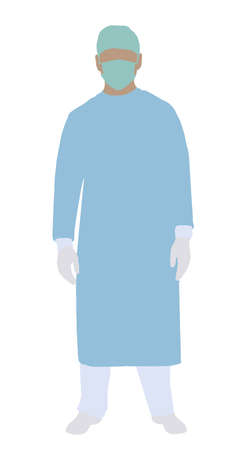 Illustration Of A Male Surgeon Standing On White Background