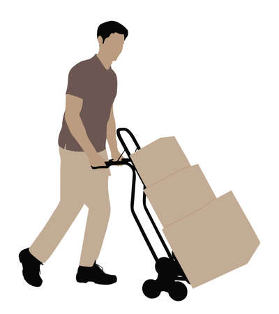Delivery Man Pushing Handtruck With Cardboard Boxes On White Background