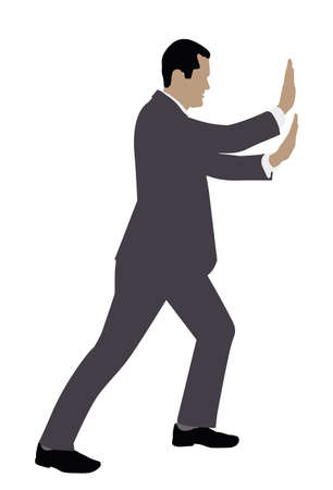 Side View Of A Businessman Pushing Invisible Wall On White Background