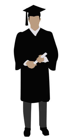 Vector Illustration Of A Graduate Student On White Background