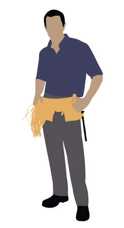 Portrait Of A Male Technician Standing On White Background Standard-Bild - 110647703