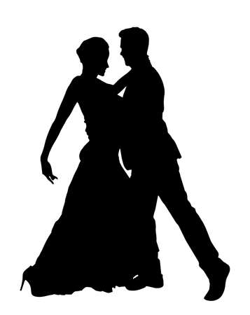 Silhouette Of A Dancing Couple Isolated On White Background
