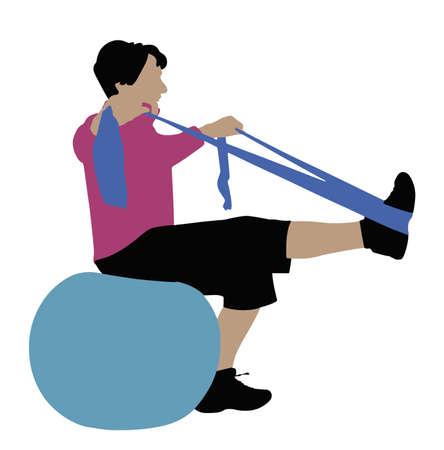 Illustratie van een vrouw die traint met een yogariem op een witte achtergrond