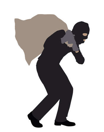 Side View Of A Robber Carrying Sack On White Background