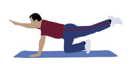 Illustration Of A Man Exercising On Exercise Mat Over White Background