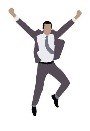 Illustration Of A Businessman Raising His Arms On White Background