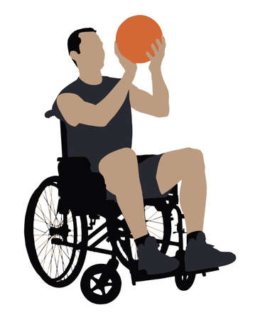 Vector Illustration Of A Man In Wheelchair Playing Basketball On White Background