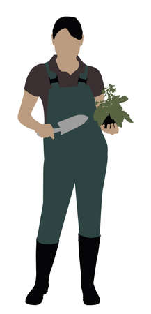 Female Gardener With Trowel And Plant Standing On White Background