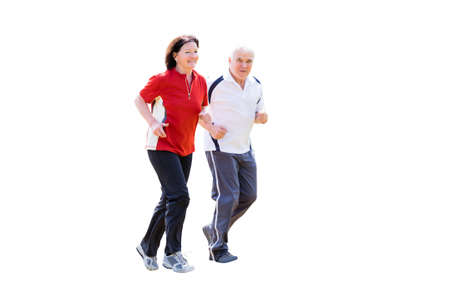 Portrait Of A Smiling Senior Couple Jogging On White Background